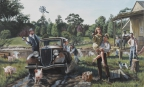 The Barrow gang (Bonnie and Clyde) - huile sur toile